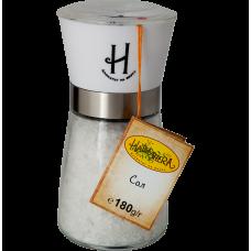 Стъклена мелница с пластмасова глава - каменна сол 180 гр.